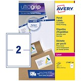 Image of Avery BlockOut Jam-free Laser Addressing Labels / 2 per Sheet / 199.6x143.5mm / White / L7168-100 / 200 Labels