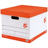 Image of 5 Star A4 Lever Arch File Storage Boxes / White & Red / Pack of 10