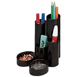 Image of 5 Star Desk Tidy with 6 Compartments - Black