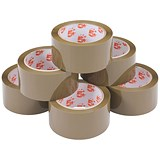 Image of 5 Star Packaging Tape / Polypropylene / 50mm x 66m / Buff / Pack of 6