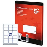 Image of 5 Star Multipurpose Laser Labels / 21 per Sheet / 63.5x38.1mm / White / 2100 Labels