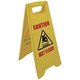 "2-Sided A-Frame Sign - ""Caution Wet Floor"" / ""Cleaning in Progress Yellow"""