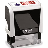 "Image of Trodat Office Printy Self-Inking Stamp / ""Checked"" / Reinkable / Red & Blue"