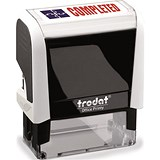 "Image of Trodat Office Printy Self-inking Stamp / ""Completed"" / Reinkable / Red & Blue"
