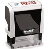 "Image of Trodat Office Printy Self-inking Stamp / ""Posted"" / Reinkable / Red & Blue"