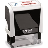 "Image of Trodat Office Printy Self-Inking Stamp / ""Private & Confidential"" / Reinkable / Red & Blue"