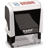 "Image of Trodat Office Printy Self-inking Stamp / ""Overdue"" / Reinkable / Red & Blue"
