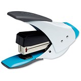 Image of Rexel Easy Touch Flat Clinch Quarter Strip Stapler / Capacity: 20 Sheets / White & Blue