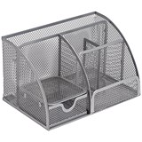 Image of Mesh Desk Organiser / Scratch-resistant with Non-marking Rubber Pads / Silver