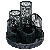 Mesh Pencil Pot with 5 Tubes / Scratch-resistant with Non-marking Base / Black