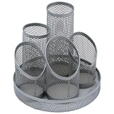 Mesh Pencil Pot with 5 Tubes / Scratch-resistant with Non-marking Base / Silver