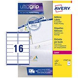 Avery Jam-free Laser Addressing Labels / 16 per Sheet / 99.1x33.9mm / White / L7162-250 / 4000 Labels