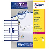 Avery Jam-free Laser Addressing Labels / 16 per Sheet / 99.1x33.9mm / White / L7162-40 / 640 Labels