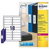 Image of Avery Laser Filing Labels for Ring Binder / 18 per Sheet / 100x30mm / L7172-25 / 450 Labels
