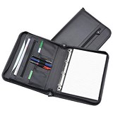 5 Star Zipped Folder with 4 Ring Binder / Leather-Look / A4 / Black