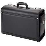 Alassio Genova Pilot Case / Multi-section / 2 Combination Locks / Leather-look / Black