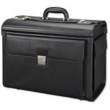 Image of Alassio Vicenza Pilot Case / Multi-section / 2 Combination Locks / Leather-look / Black