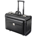 Image of Alassio Silvana Trolley Pilot Case / 2 Combination Locks / Leather / Black