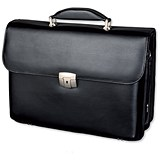 Alassio Briefcase with Shoulder Strap / Multi-section / Leather / Black