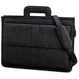 Image of Alassio Document Case / Multi-section / Zipped with Shoulder Strap / Leather-look / Black