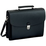 Image of Alassio Forte Briefcase with Shoulder Strap / 5 Document Sections / Leather-look / Black