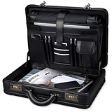 Image of Alassio Attaché Case / Removable Laptop Sleeve / Expandable / Leather-look / Black