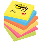Image of Post-it Colour Notes / 76x76mm / Energetic Palette Rainbow Colours / Pack of 6 x 100 Notes