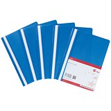 Image of 5 Star Project Flat Files with Indexing Strip / Lightweight Polypropylene / A4 / Blue / Pack of 5