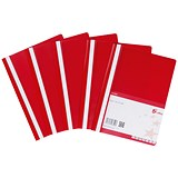 Image of 5 Star Project Flat Files with Indexing Strip / Lightweight Polypropylene / A4 / Red / Pack of 5