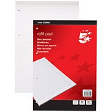 5 Star Headbound Refill Pad / A4 / Feint Ruled with Margin / 4 Holes / 80 Sheets / Pack of 10