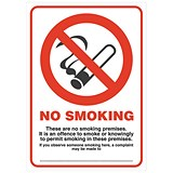 Image of No Smoking Compliant Sign PVC A4 Ref SCP002PP