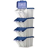 Image of Storage Container Bin / 50 Litre / White & Blue Lid / Pack of 4