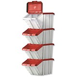 Image of Storage Container Bin / 50 Litre / White & Red Lid / Pack of 4