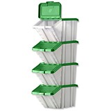 Storage Container Bin / 50 Litre / White & Green Lid / Pack of 4