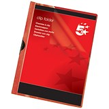 Image of 5 Star A4 Clip Folders / 6mm Spine / Red / Pack of 25
