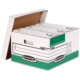 Image of Fellowes Bankers Box Storage Boxes / Foolscap / Green & White / Pack of 10