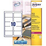 Avery Laser Media Labels for 3.5 inch Disk / 10 per Sheet / 70x52mm / L7666-25 / 250 Labels
