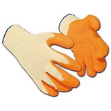 Latex Polyester Gloves / Medium / Orange / 12 Pairs