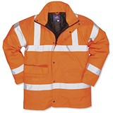 Image of Portwest High Visibility Railtrack Jacket / Resistant-finish / Large / Orange