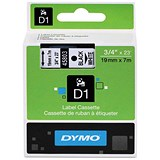Image of Dymo D1 Tape for Electronic Labelmakers 19mmx7m Black on White Ref 45803 S0720830
