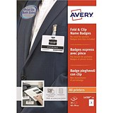 Image of Avery Fold & Clip Name Badges / 90x60mm / White / Pack of 30