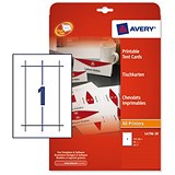 Image of Avery Printable Business Tent Cards / 210mm x 60mm / 1 per Sheet / White / 190gsm / Pack of 20