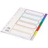 Image of Concord Subject Dividers / Europunched Polypropylene / 6-Part / A4 / Assorted