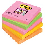 Image of Post-it Super Sticky Notes / 76x76mm / Capetown Rainbow / Pack of 5 x 90 Notes