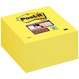 Image of Post-it Super Sticky Note Cube / 76x76mm / Ultra Yellow / 350 Notes per Cube