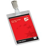 Image of 5 Star Security Badges with Plastic Clip / Portrait / 90x60mm / Pack of 25
