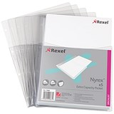Image of Rexel A4 Nyrex Extra Capacity Punched Pockets - Pack of 5