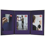 Image of Nobo Showboard Desktop Display / 3 Panels / Blue & Grey