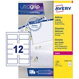 Avery Jam-free Laser Addressing Labels / 12 per Sheet / 63.5x72mm / White / L7164-250 / 3000 Labels