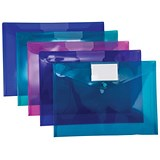 Image of Concord Stud ID Wallet Files with Card Holder / Vibrant Polypropylene / A4 / Assorted / Pack of 5